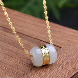 Jewelry - 3 For $18 Natural White Jade Pendant Necklace